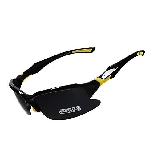 DOLOVE Brille Motorrad Winddicht Sonnenbrille Schutzbrille Brillenträger Herren und Damen Sportbrille Schwarz Gelb