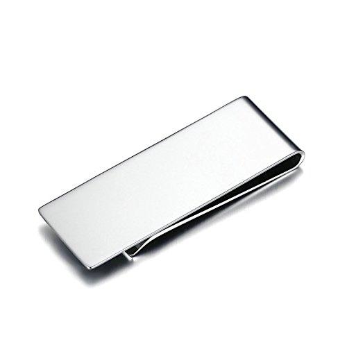 Edelstahl Money Clip Geldscheinklammer Für Männer Junge Bargeldhalter Hoch Poliert Glatt Silber 59MMx22MM Onefeart