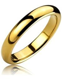 R4U 3mm 18K Gold Plated Dome Shape Comfort Fit Highly Polished Tungsten Carbide Unisex Wedding Ring Band