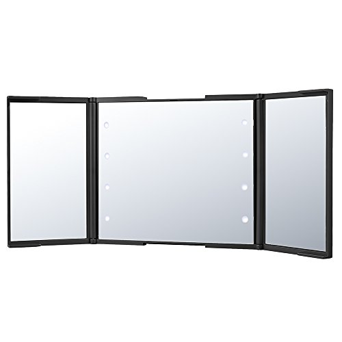 PLEMO LED Kosmetikspiegel, beleuchteter, zweifach faltbarer Kosmetikspiegel Make up Spiegel mit 2x Vergrößerungsspiegel und 1x Spiegel