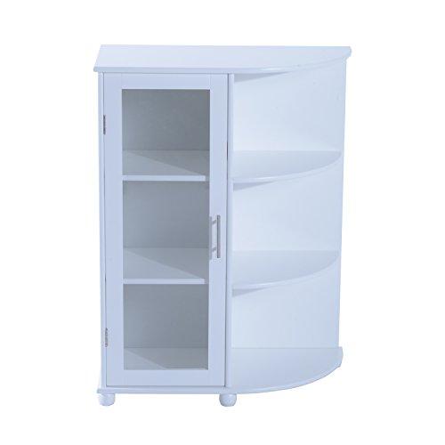 Homcom® Badezimmerschrank Standschrank Badschrank Schrank Eckschrank, L60 x W30 x H80cm, weiß