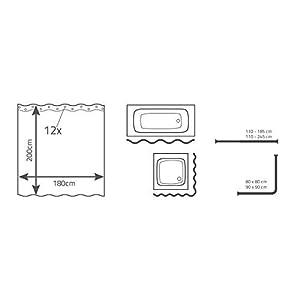 ridder 403076 duschvorhang textil ca 180 x 200 cm kani rot. Black Bedroom Furniture Sets. Home Design Ideas
