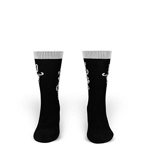 M | Socken von ROCKASOX | Schwarz, Weiß | No. 13, Totenkopf & Blumen | knöchelhoch | Unisex Strümpfe Size M (Kostüm Grunge Rocker)