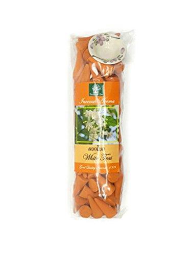 AliceInter Weiß teai Räucherkegel für Spa Aromatherapie Entspannung 100Pcs/Pack mit 1Keramik-Halter aus Thailand (Blut-orangen-aroma)