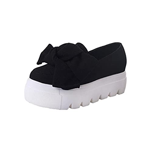 Femmes Flats,OverDose Loafers Slip On Plate-Forme Chaussures Avec Bow Talons
