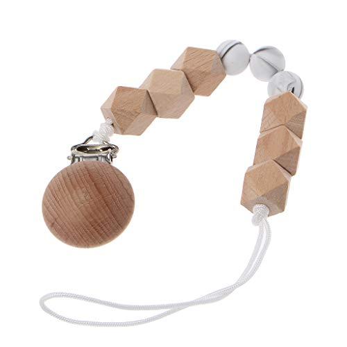LANDUM Holzschnullerkette Achteckige Holzperlenkette Baby-Krankenpflege-Spielzeug Kauen Spielzeug-Kinderkrankheiten Rassel-Spielzeug - Weiß