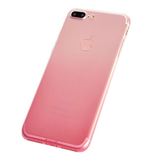 IPhone 7 Plus Case, KoalaGroup® Gradient thin TPU soft protective pouch Slim was simple case cover & thin translucent box - Comes with dust cap (Pink) Pink