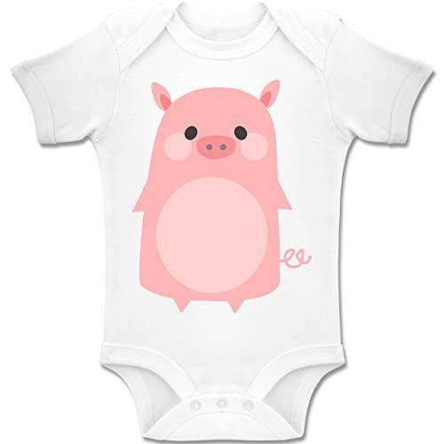 Schwein Kostüm Mädchen - Shirtracer Karneval und Fasching Baby - Fasching Kostüm Schweinchen - 1-3 Monate - Weiß - BZ10 - Baby Body Kurzarm Jungen Mädchen