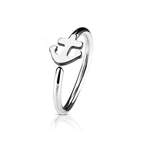 eeddoo Nasen-Piercing Ring Anker Silber Edelstahl