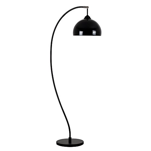 Bow floor lamp amazon modern design style matt black curved bow shaped floor lamp with a gloss black dome shade complete with a 6w led gls bulb 3000k warm white aloadofball Images
