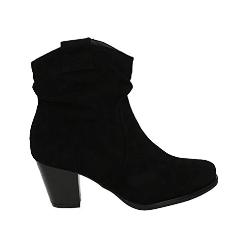 Damen Stiefeletten Cowboy Western Stiefel Boots Schlupfstiefel Blockabsatz Schuhe 65 (37, Schwarz)