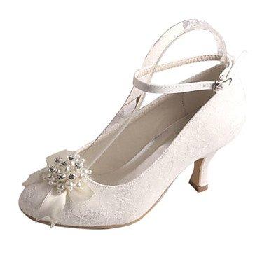 RTRY Donna Scarpe Matrimonio Pompa Di Base In Raso Elasticizzato Caduta Di Primavera Party Di Nozze &Amp; Sera Crystal Pearl Stiletto Heel Bianco Avorio 2A-2 3/4In US4-4.5 / EU34 / UK2-2.5 / CN33