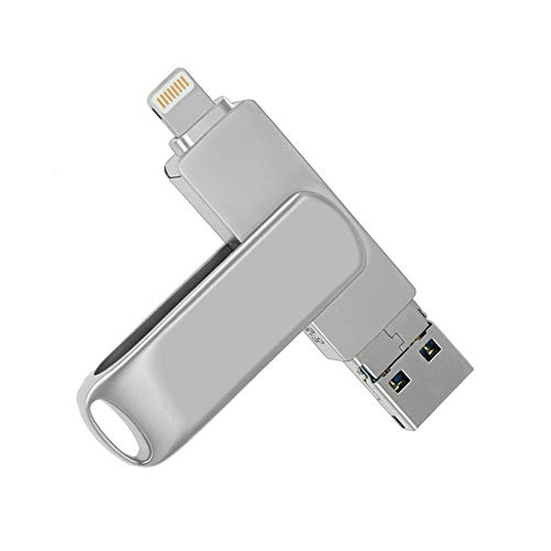 USB Stick 64GB, Externer Speicherstick für iPhone- USB 3.0 Memory Stick Micro USB 3 in 1 iUSB Flash Drive für iOS Laptop Notebook Android- Metall Silber