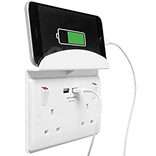 BG Electrical 922u/s 13 A Switched Double Socket with Shelf and 2 x 2.1 A USB - White