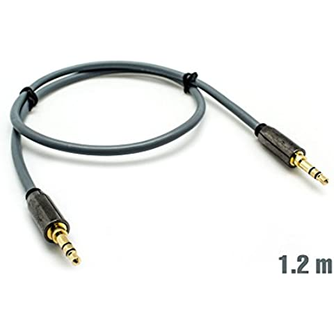 Cable Audio Jack 3.5mm M/M 0.5m Plata BIWOND