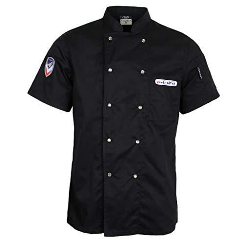 Hellery Atmungsaktiv Sommer Kurzarm Kochjacke Bäckerjacke mit Druckknöpfe Arbeitskleidung Koch Küchen Uniformen M-3XL - Schwarz, 2XL