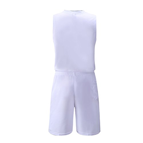 Zhhlaixing One Sets Mens Breathable Sleeveless Basketball Clothes Gli sport Training Suit White