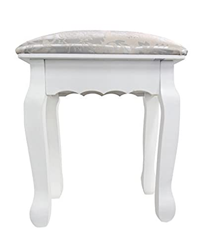 Rebecca srl Padded Chair Stool Wood Fabric White Classic Design Living Room Bedroom (cod. 0-1251)