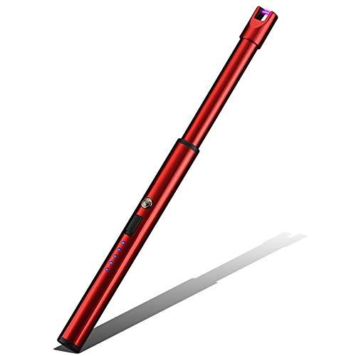 feuerzeug ohne gas Elektrisches Feuerzeug, Lichtbogen winddichtes Feuerzeug, USB wiederaufladbar, Sicherheit für Zuhause, Küche, Grill, Camping und Kamin rot