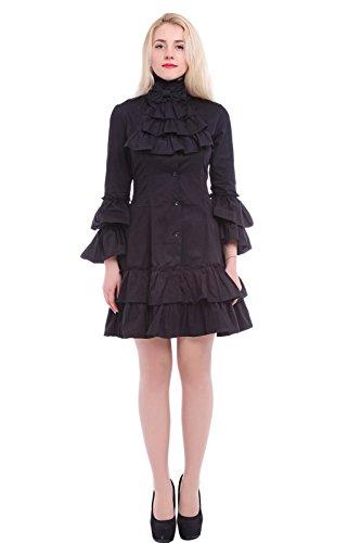 Nuoqi-Mujeres-de-manga-larga-vestido-de-Lolita-gtico-blusa-Casual-Tops-Cosplay-Fiesta-Disfraz