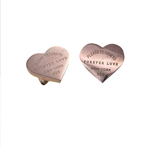 Butterme Oro 18K oro placcato a forma di cuore a forma di 'Forever Love' orecchini a vite per le ragazze delle donne