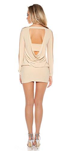 Rückenfreies Party-Minikleid mit langen, offenen Ärmel Beige