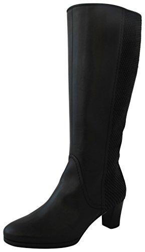 Gabor Comfort 36.598.37 Damen Stiefel/Winterstiefel (Weitschaftstiefel/Boots) mit Blockabsatz Leder Schwarz, EU 44