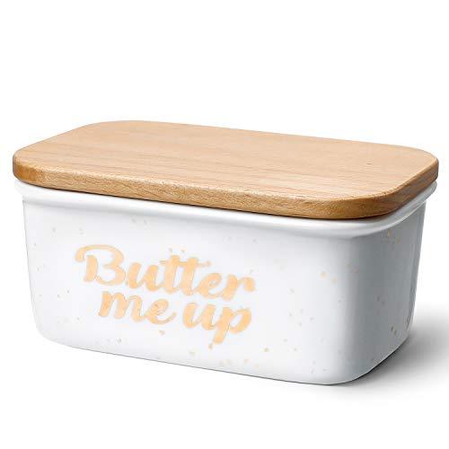 Sweese 301.213 Butterdose Porzellan mit Holzdeckel, für 250 g Butter, Butter Me Up, Groß, Weiß