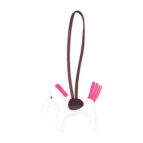 BESTOYARD Patchwork PU Leder Nähen Quaste Nette reizende kreative Widget hängende Spielzeug Pony Anhänger (weiß) - Patchwork-quaste