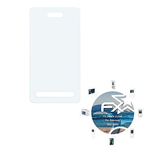 Samsung SGH-D980 Folie - 3 x atFoliX FX-Shock-Clear stoßabsorbierende ultraklare Panzerfolie Displayschutzfolie