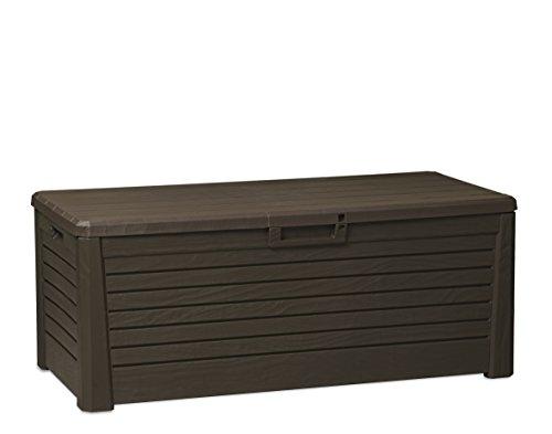 Olsen & Smith Toomax Florida 550L Coffre de Rangement Extérieur Sit on Banc Plastique Marron 148 x 72 x 60 cm