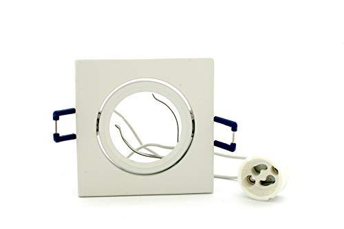 Support carré en aluminium pour spot encastrable orientable 50 mm, avec douille GU10 - Blanc