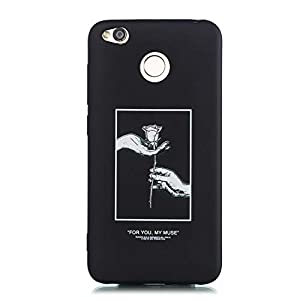 WIWJ Handyhülle für Xiaomi Redmi 4X Silikon Schwarz Matt – Lustig Rose Muster Cover Ultra Dünn Weiche TPU Hülle Tasche Gummi Mädchen Damen Holz Case 360 Stoßfest Kratzfest Bumper Schutzhülle