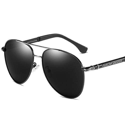 WULE-RYP Polarisierte Sonnenbrille mit UV-Schutz Herren Casual Retro Big Frame Driving Sonnenbrille, Polarisierte Linse. Superleichtes Rahmen-Fischen, das Golf fährt (Farbe : Schwarzes Silber)