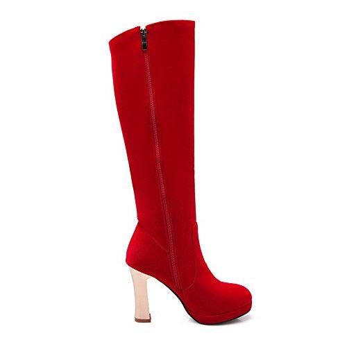 VogueZone009 Damen Hoher Absatz Bestickt Rund Zehe Blend-Materialien Ziehen auf Stiefel, Schwarz, 36