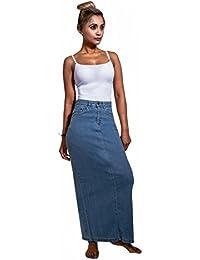 69efa14f3c9f Uskees Jessica Long Denim Skirt - Pale wash Close-Fitting Maxi Jean Skirt  UK 8