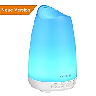 Diffusor Aromatherapie, VicTsing Aroma Diffuser 150ml Luftbefeuchter Ultraschall Vernebler, Ultra Leise Diffuser BPA-Free Öle Diffusor mit 8 Farben LED Humidifier Duftlampe für Kinderzimmer Wohn- Büro
