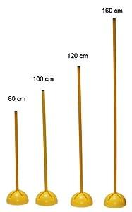 agility sport pour chiens - socle multi-fonctions remplissalbe avec jalon - longueur 120 cm, Ø 25 mm - couleur: jaune - 1x xs120y