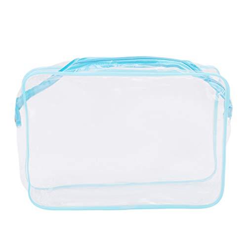 VWH PVC Voyage Transparent Cosmétique Sac Zipper Maquillage Sacs Organisateur Lavage Bain Fourre-Tout Sacs à Main Cas (bleu, S)