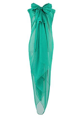 PB-SOAR XXL Damen Einfarbig Unifarben Sarong Pareo Strandtuch Wickelrock Wickeltuch, weich und leicht (Dunkel Grün)