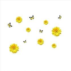 GXLQT Pegatina De Pared 1 Unidades Flores Amarillas Decoración Decorativa Etiqueta De La Pared Decoración Crisantemo Margarita Hogar Dormitorio Tatuajes De Pared