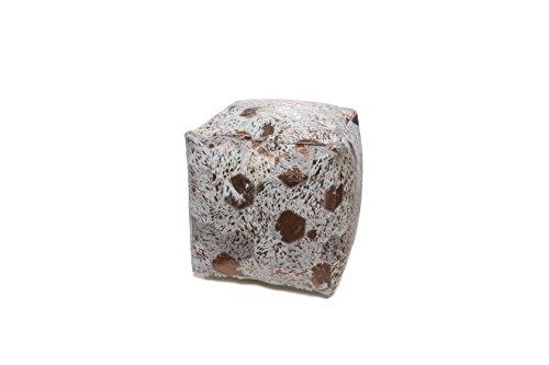 Hocker Sitz-Würfel Patschwork Design Spark Pouf 200 Bean Bag Rauten Muster Leder 45x45 cm Beige/ Sitzsack günstig online kaufen