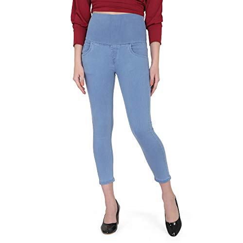 PARIS HAMILTON Women's Plus Size Tummy Tucker Highwaist Stretchable Jeans Light Blue 38""