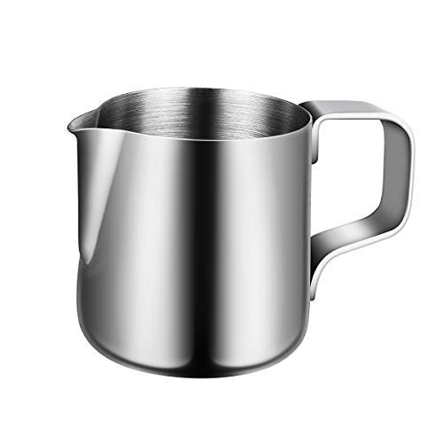 BESTOMZ Milchkännchen, Milk Pitcher 150ml Milchkanne aus Edelstahl, Milch Aufschäumen für Cappuccino und Latté, Silber -