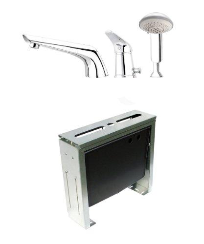 """Preisvergleich Produktbild Komplettset 3-Loch Designer Wannenrandarmatur und Montageblock 3-Loch Armatur Wannenarmatur von DEANTE Modell """"JAGUAR"""""""