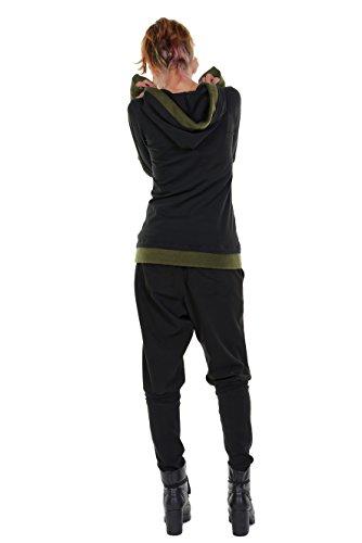 winterlicher Damen Kapuzenpullover mit farblich abgesetzten Fleece Details der Marke 3Elfen - fair produziert Schwarz Grün