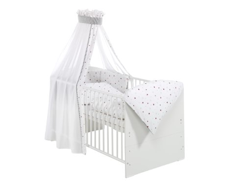 Schardt 0449802021678 Komplettbett Classic-Line weiß, 70 x 140 cm, inklusive 4 - teiliger, textiler Ausstattung Sternchen, rot