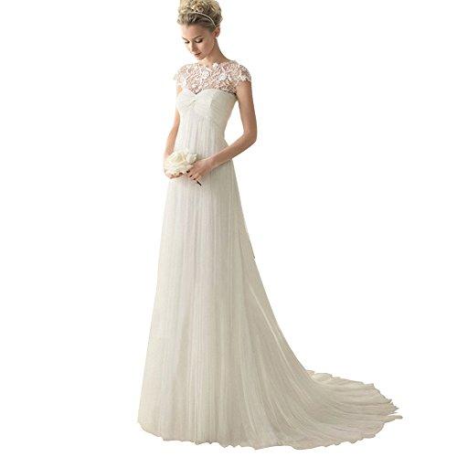 BOMOVO Damen Spitze Applique Jahrgang Hochzeitskleid Romantisch Brautkleid Brautkleider Hochzeitskleider Weiß
