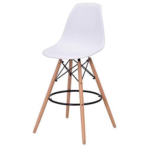 OaLt-t Einfache Freizeitgestaltung, Barstuhl Rezeptionstuhl, stilvoller moderner Esszimmerstuhl mit hoher Rückenlehne und Beinen aus Naturholz, armloser Loungesessel, Barstuhl