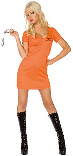 Karneval-Klamotten Sträfling Kostüm Damen sexy orange Sträflingskostüm Damen-Kostüm Größe ()